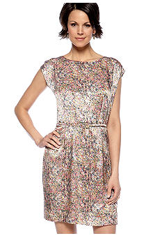 Nine West Suit Belted Floral Print Dress