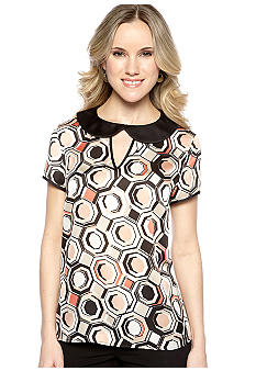 Nine West Suit Geometric Print Peter Pan Collar Shirt