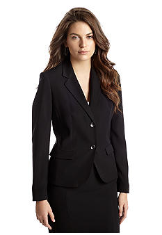 Nine West Suit Two-Button Solid Crepe Jacket