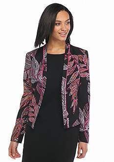 Nine West Open Front Leaf Print Jacket