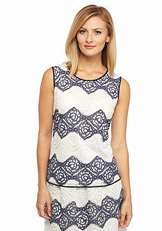 Nine West Lace Zigzag Sleeveless Blouse