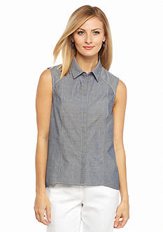 Nine West Chambray Collar Blouse