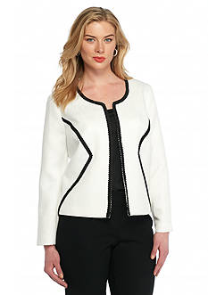 Nine West Plus Size Ric Rac Detail Jacket