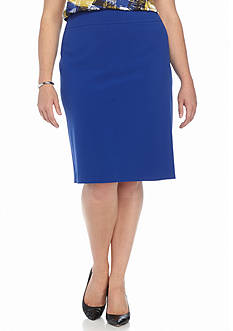 Nine West Plus Size Solid Straight Skirt