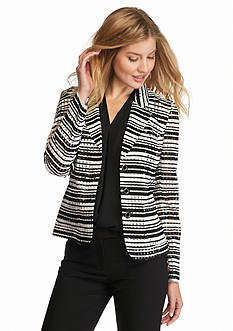 Nine West Three Button Check Print Jacket