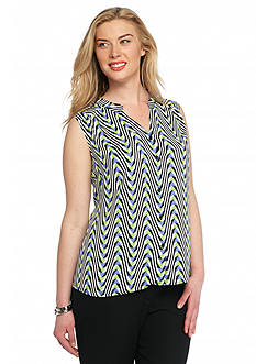 Nine West Plus Size Geo Print Button Front Blouse