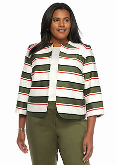 Nine West Plus Size Stripe Jacket