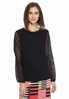 Nine West Lace Sleeve Blouse