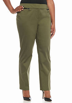 Nine West Plus Size Cotton Straight Pants