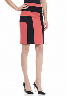 Nine West Colorblock Straight Skirt