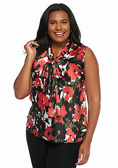 Nine West Plus Size Print Neptune Blouse
