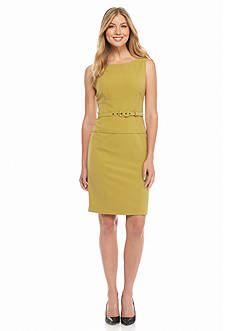 Nine West Seamed Belted Sheath Dress