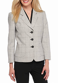Nine West Three Button Plaid Jacket