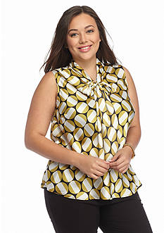 Nine West Plus Size Tie Neckline Blouse