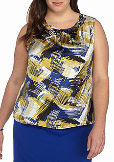 Nine West Plus Size Sleeveless Print Blouse