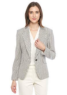 Nine West One Button Stripe Jacket