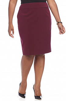 Nine West Plus Size Solid Slim Skirt