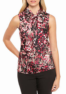Nine West Print V Neck Blouse with Self Tie Neckline