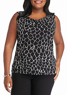 Nine West Plus Size Print Drape Neck Top