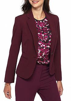 Nine West Solid Single Button Jacket