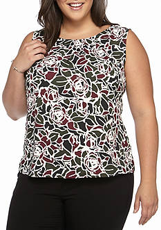 Nine West Plus Size Floral Print Blouse