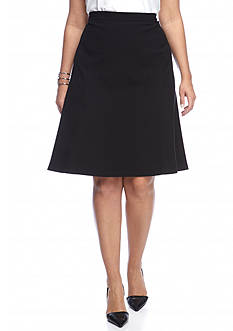 Nine West Plus Size Crepe Flared Skirt