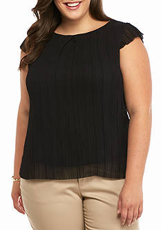 Nine West Plus Size Crepe Cap Sleeve Blouse