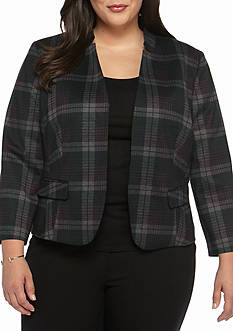 Nine West Plus Size Plaid Inverted Collar Jacket