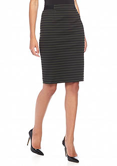 Nine West Stripe Ponte Slim Skirt