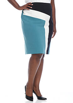 Nine West Plus Size Colorblock Skirt