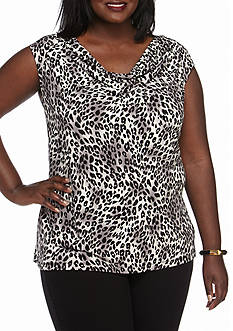 Nine West Plus Size Drape Neck Top