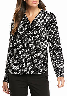 Nine West Print Y neck Blouse
