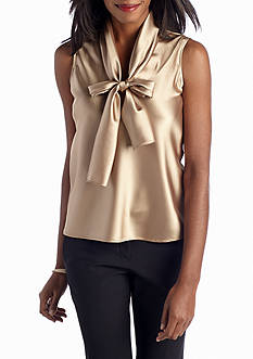 Nine West Charmeuse Tie Neck Blouse