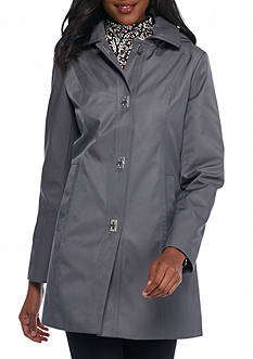 AK Anne Klein Turn Key Front Coat with Hood