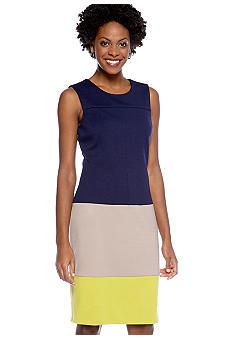 Jones New York Dress Sleeveless Ponte Sheath Colorblock Dress