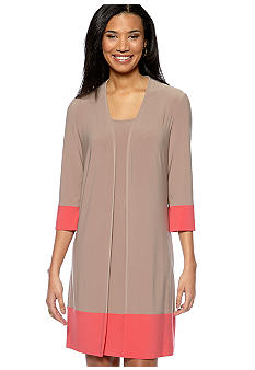 Jones New York Dress Three-Quarter Sleeved Mock Jacket Dress