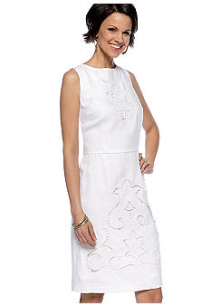 Jones New York Dress Sleeveless Linen Embroidered Sheath Dress