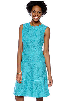 Jones New York Dress Sleeveless Allover Lace Fit and Flare Dress