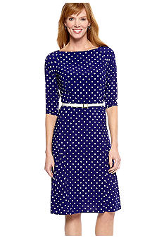 Jones New York Dress Three-Quarter Sleeved Matte Jersey Dress
