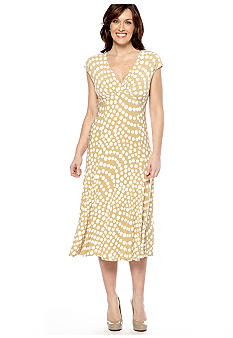 Jones New York Dress Cap-Sleeved Crossover V-Neck Dress