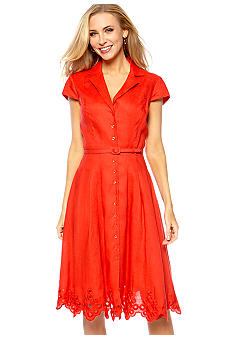 Jones New York Dress Cap-Sleeved Linen Belted Shirt Dress