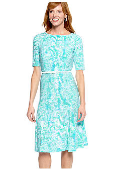 Jones New York Dress Elbow Sleeved Printed Matte Jersey Belted Dress
