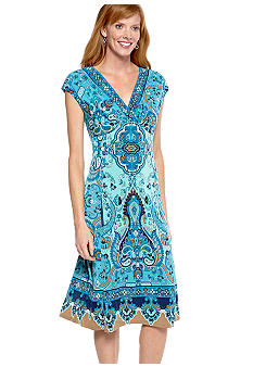 Jones New York Dress Cap-Sleeved Printed Matte Jersey Dress