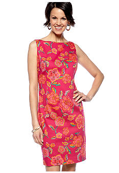 Jones New York Dress Sleeveless Floral Printed Sheath Dress