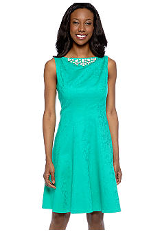 Jones New York Dress Sleeveless Jacquard A-Line Dress
