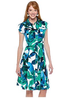 Jones New York Dress Cap-Sleeved Printed Shirt Dress