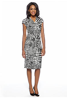 Jones New York Dress Cap-Sleeved Cowl Neck Printed Dress