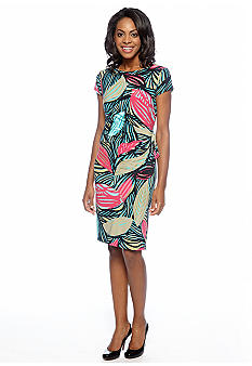 Jones New York Dress Cap-Sleeved Printed Sheath Dress