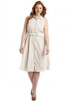 Jones New York Dress Sleeveless Seersucker Shirtdress