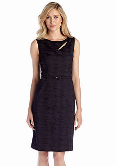 Jones New York Dress Sleeveless Belted Sheath Dress